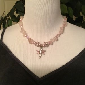 Rose Quartz and Pink Beads With Dragonfly Pendant